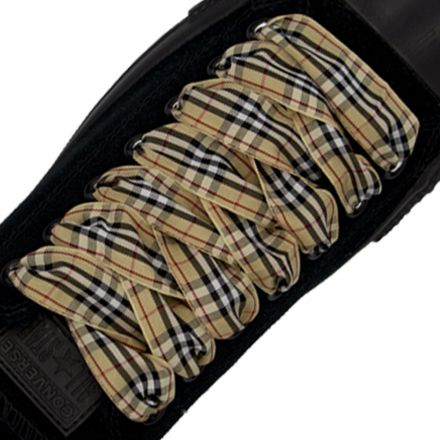 Plaid Shoelace Stripe - Light Brown Black White Flat Length 120cm Width 2.5cm