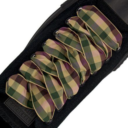 Plaid Shoelace Stripe - Light Brown Green Maroon Flat Length 120cm Width 2.5cm