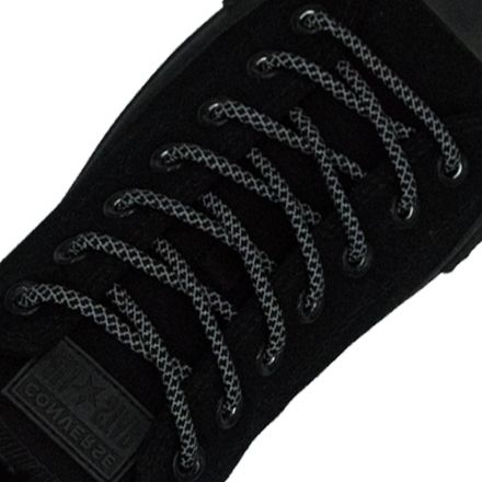 Reflective Shoelaces Round Black 100 cm - Ø5mm Cross