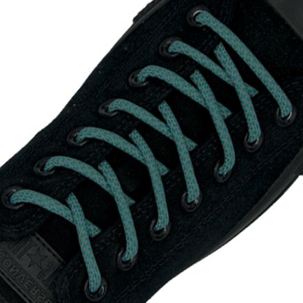 Reflective Shoelaces Round Dark Aqua 100 cm - Ø5mm Cross