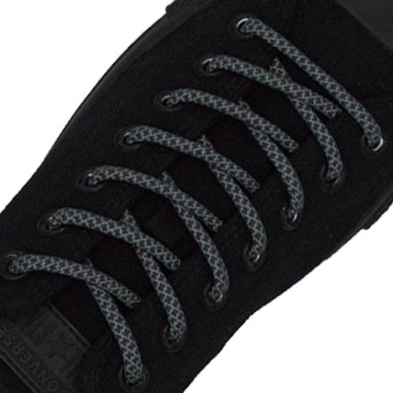 Reflective Shoelaces Round Dark Grey 100 cm - Ø5mm Cross