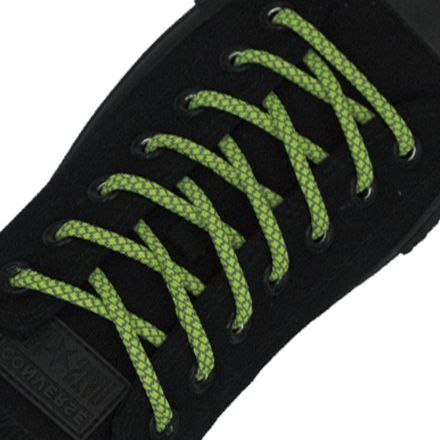 Reflective Shoelaces Round Fluro Green 100 cm - Ø5mm Cross