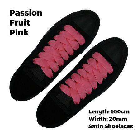 Satin Ribbon Shoelaces Flat Passion Fruit Pink - 100cm Length - 2cm Width