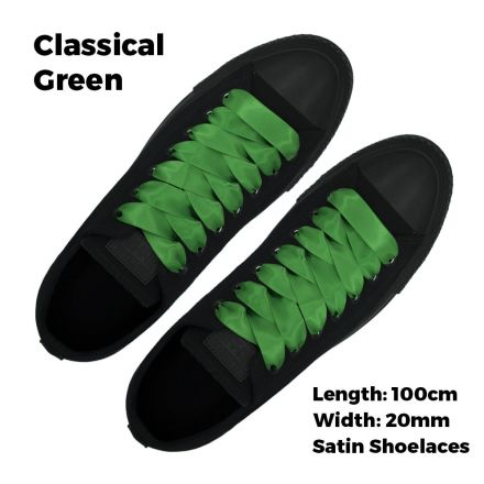Satin Ribbon Shoelaces Flat Classical Green - 100cm Length - 2cm Width