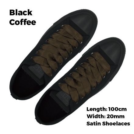 Satin Ribbon Shoelaces Flat Black Coffee - 100cm Length - 2cm Width
