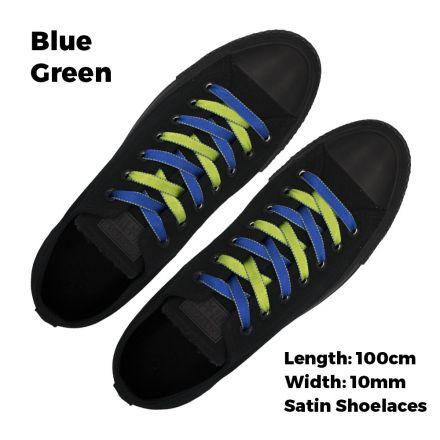Satin Ribbon Shoelaces Two Tone Flat Blue Green - 100cm Length - 1cm Width