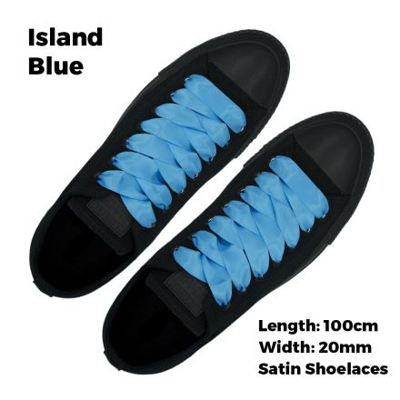 Satin Ribbon Shoelaces Flat Island Blue - 100cm Length - 2cm Width