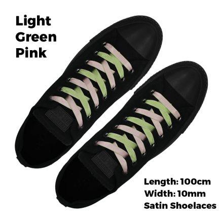 Satin Ribbon Shoelaces Two Tone Flat Light Green Pink - 100cm Length - 1cm Width