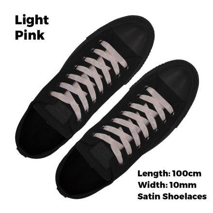 Satin Ribbon Shoelaces Flat Light Pink - 100cm Length - 1cm Width