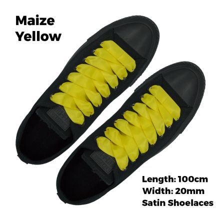 Satin Ribbon Shoelaces Flat Maize Yellow - 100cm Length - 2cm Width