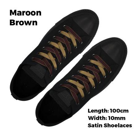 Satin Ribbon Shoelaces Two Tone Flat Maroon Brown - 100cm Length - 1cm Width