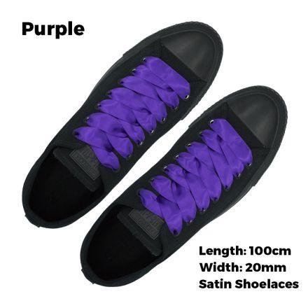 Satin Ribbon Shoelaces Flat Purple - 100cm Length - 2cm Width