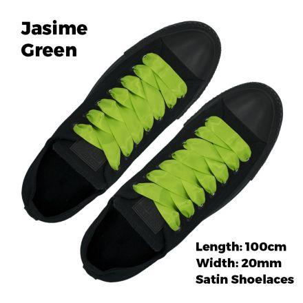 Satin Ribbon Shoelaces Flat Jasmine Green - 100cm Length - 2cm Width