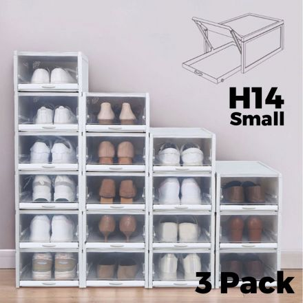 Shoe Storage Boxes Stackable Drawers 3pcs - H14