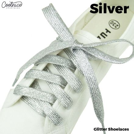 Glitter Shoelaces Flat - Silver Coolnice