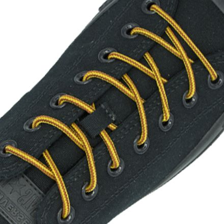 Two Tone Bootlace Shoelace Brown Yellow 100cm - Ø4mm