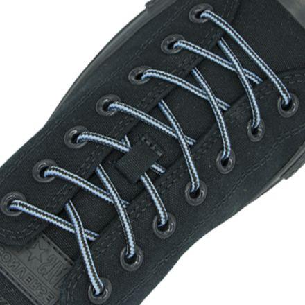 Two Tone Bootlace Shoelace Light Blue Black 100cm - Ø4mm