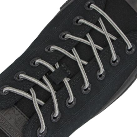 Two Tone Bootlace Shoelace Grey White 100cm - Ø4mm