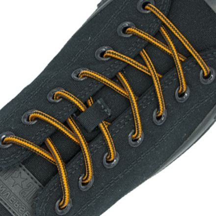 Two Tone Bootlace Shoelace Orange Black 100cm - Ø4mm