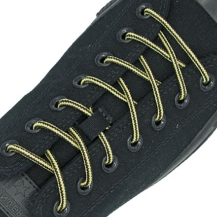 Two Tone Bootlace Shoelace Yellow Black 100cm - Ø4mm
