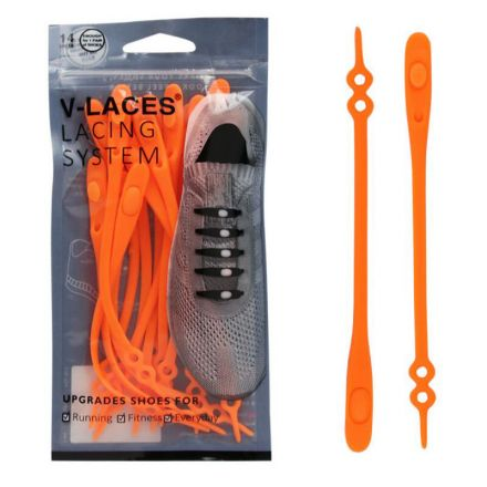 Kids & Adults V Laces No Tie Shoelace - Orange 14 Pieces