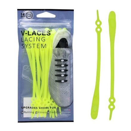 Kids & Adults V Laces No Tie Shoelace - Yellow 14 Pieces