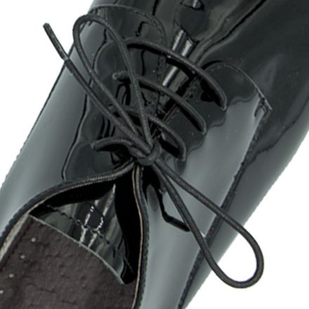 Waxed Cotton Dress Shoelaces - Black 60cm Length 2mm Round