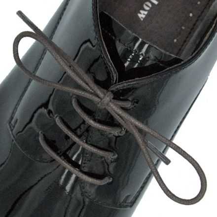 Waxed Cotton Dress Shoelaces - Dark Brown 80cm Length 3mm Round