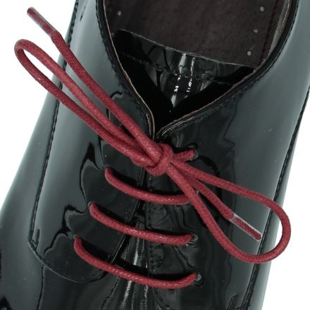 Waxed Cotton Dress Shoelaces - Dark Red 60cm Length 2mm Round