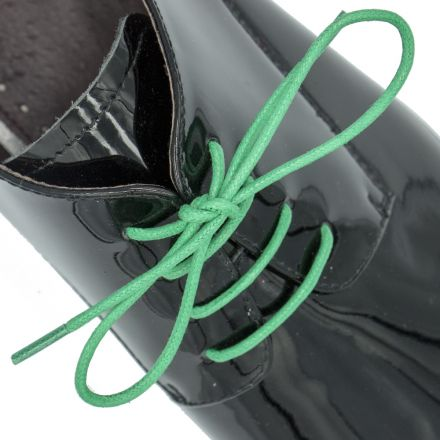 Waxed Cotton Dress Shoelaces - Green 60cm Length 2mm Round