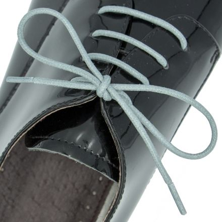 Waxed Cotton Dress Shoelaces - Grey 60cm Length 2mm Round