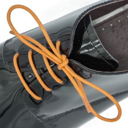 Waxed Cotton Dress Shoelaces - Orange 60cm Length 2mm Round
