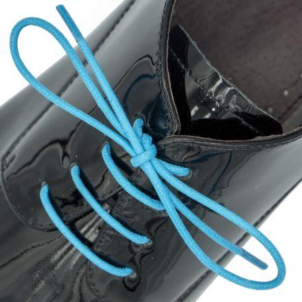 Waxed Cotton Dress Shoelaces - Sky Blue 60cm Length 2.5mm Round