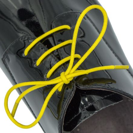 Waxed Cotton Dress Shoelaces - Yellow 60cm Length 2.5mm Round