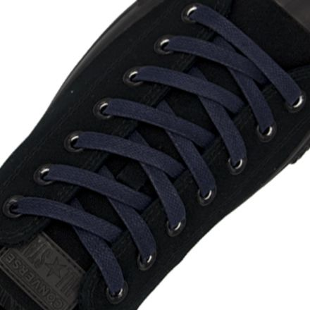 Waxed Cotton Boot / Sneaker Laces - Dark Blue 120cm Flat