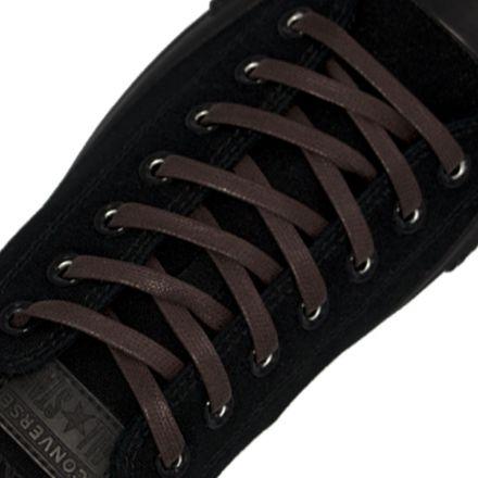 Waxed Cotton Boot Sneaker Shoelaces - Dark Brown 180cm Flat