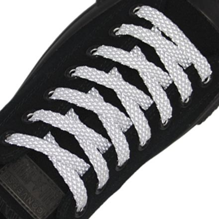 Reflective Shoelaces Flat White 120 cm