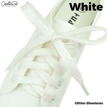 Glitter Shoelaces Flat - White oFashion