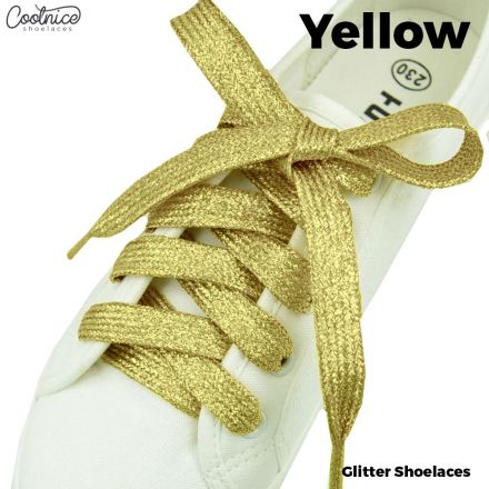 Glitter Shoelaces Flat - Yellow Coolnice