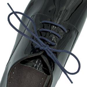 Waxed Cotton Dress Shoelaces - Blue 60cm Round