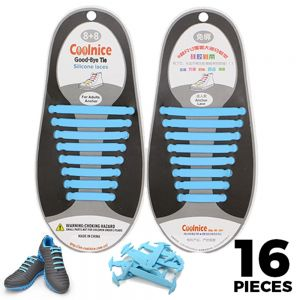 No Tie Shoelaces Silicone - Sky Blue 16 Pieces for Adults