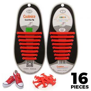 No Tie Shoelaces Silicone Red 16 Pieces - Main