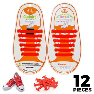 No Tie Shoelaces Silicone - Red 12 Pieces for Kids