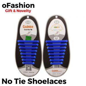 No Tie Shoelaces Silicone Blue 16 Pieces