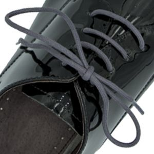 Waxed Cotton Dress Shoelaces - Grey 60cm Round