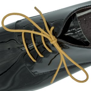 Waxed Cotton Dress Shoelaces - Light Brown 60cm Length 3mm Round