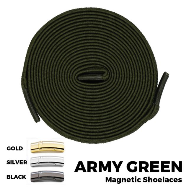 Army Green Magnetic Shoelace Lock Flat Elastic No Tie Laces