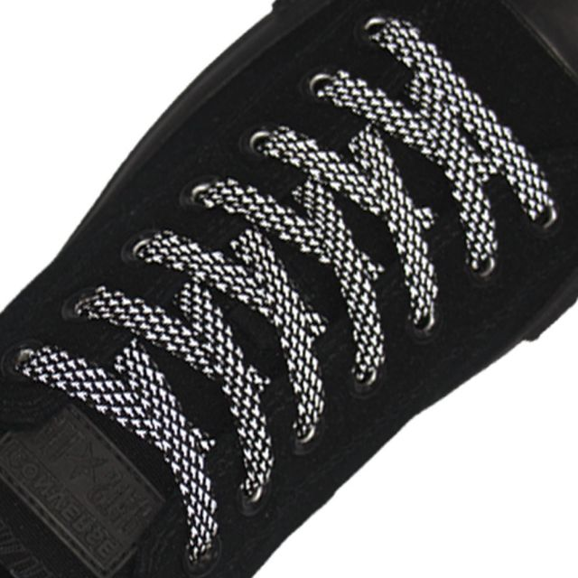 Reflective Shoelaces Flat Black 120 cm