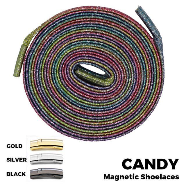 Candy Colour Magnetic Shoelace Lock Flat Elastic No-Tie Laces