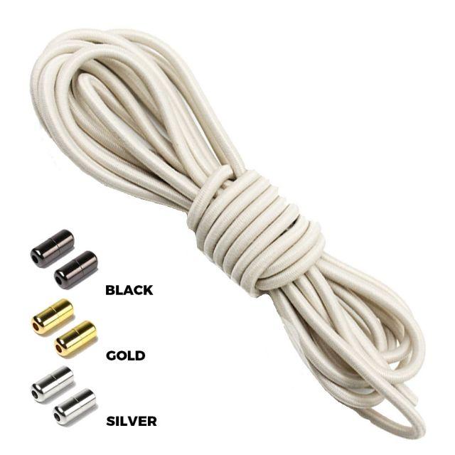 Antique White Round Elastic Shoelaces Capsule Lock